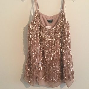 NWT City Chic Blush Sequin Fringe Top